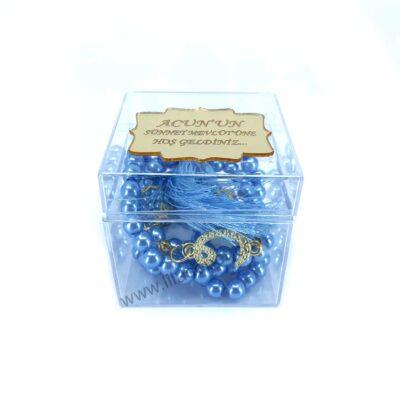 Ana Sayfa bebek mavisi kare seffaf inci tesbih kutusu pleksi isim etiketli mevlut hediyeliklerijpg 1 400x400